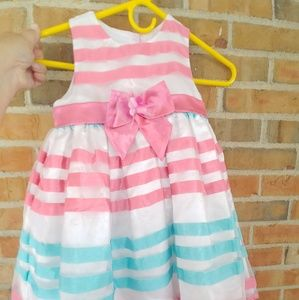 Toddler Girls Pink and Teal Striped Dress